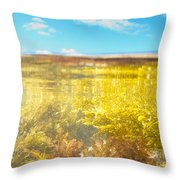 Over-under Split Shot Of Clear Water In Tidal Pool Throw Pillow