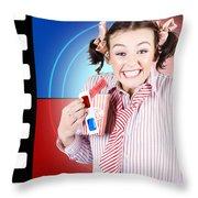 Overjoyed Nerd Woman At 3d Movie Premier Throw Pillow