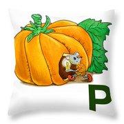 P Art Alphabet For Kids Room Throw Pillow