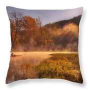 Paddling In Mist Throw Pillow