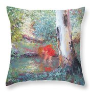 Paddling In The Creek Throw Pillow
