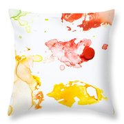 Paint Splatters And Paint Brush Throw Pillow