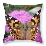 Painted Lady Butterfly Up Close Throw Pillow