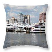 Palm Beach Docks Throw Pillow