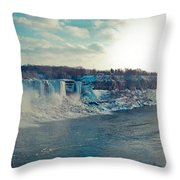 Panorama - Niagara Falls In Winter Throw Pillow