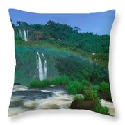 Panoramic View Of Iguazu Waterfalls Throw Pillow