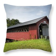 Paper Mill Covered Bridge Throw Pillow