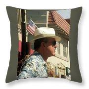 Parade Watcher Flag In Hat July 4th Prescott Arizona 2002 Throw Pillow