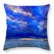 Paradise Is Blue Throw Pillow