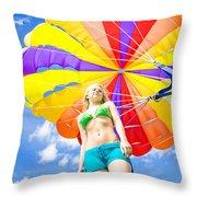 Parasailing On Summer Vacation Throw Pillow