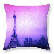 Paris Skyline Throw Pillow