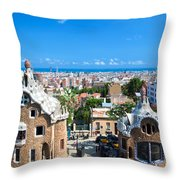 Park Guell In Barcelona Throw Pillow