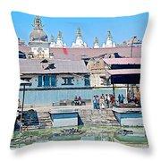 Pasupatinath Temple Of Cremation Complex In Kathmandu-nepal- Throw Pillow
