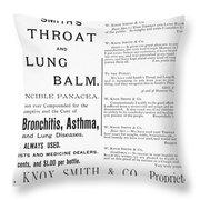 Patent Medicine Ad, 1887 Throw Pillow