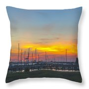 Patriots Point Sunset Throw Pillow