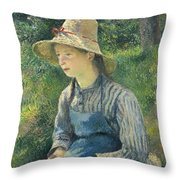 Peasant Girl With A Straw Hat Throw Pillow