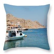 Pedi Harbour Symi Throw Pillow
