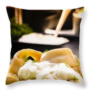Pelmeni Dumplings With Fennel And Smetana Sour Cream Throw Pillow