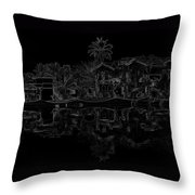 Pencil - View Of The Cottages And Lagoon Water Throw Pillow