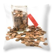 Pennies And Jar On White Background Throw Pillow