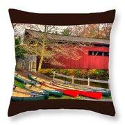 Pennsylvania Country Roads - Bowmansdale - Stoner Covered Bridge Over Yellow Breeches Creek - Autumn Throw Pillow