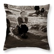 Pensive - In Central Park Throw Pillow