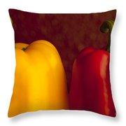 Peppers Still Life Close-up Throw Pillow
