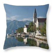 Perast Village On Kotor Bay Montenegro  Throw Pillow