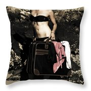 Person On A Vintage Vacation Throw Pillow