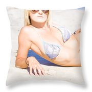 Person On Summer Holidays Throw Pillow