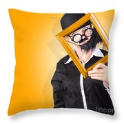Person Setting Their Social Media Profile Picture Throw Pillow
