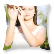 Person With Monocular Throw Pillow