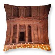 Petra By Night Throw Pillow
