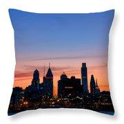 Philadelphia Dusk Throw Pillow by Olivier Le Queinec