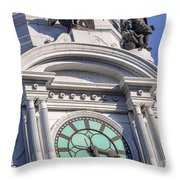 Philadelphia City Hall Clock Throw Pillow