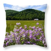 Phlox And Barn Throw Pillow