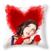 Photo Of Romantic Woman Holding Heart Shape Candy Throw Pillow
