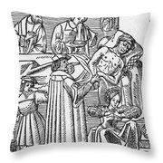 Physician & Plague Victim Throw Pillow