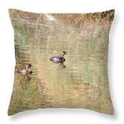Pied-billed Grebes Throw Pillow