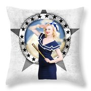 Pin-up Sailor Girl On Boat. Holiday Abroad Throw Pillow