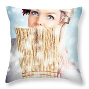 Pin-up Woman Cleaning Up In Cold Blue Winter Snow Throw Pillow