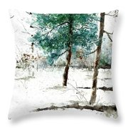 Pine Woods Throw Pillow