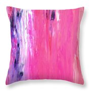 Girl Time - Pink And Purple Abstract Art Painting Throw Pillow