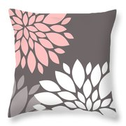 Pink Grey White Peony Flowers Throw Pillow