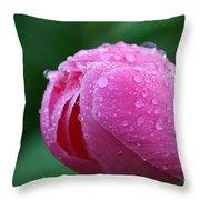 Pink Rain Drops Throw Pillow