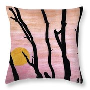 Pink - Sunrise Drawing Throw Pillow