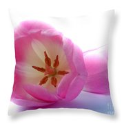 Pink Tulips Close Up And Personal Throw Pillow