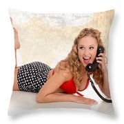 Pinup Girl On The Phone Throw Pillow