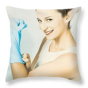 Pinup Housewife Flexing Muscles. Cleaning Strength Throw Pillow