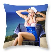 Pinup Woman On A Tropical Beach Travel Tour Throw Pillow